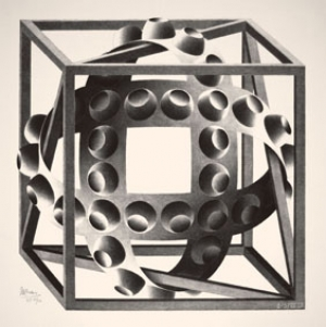 Immagine - Maurits Cornelis Escher Cubo con nastri, 1957. Litografia, 30,9x30,5 cm. Collezione Giudiceandrea Federico. All M.C. Escher works © 2016 The M.C. Escher Company The Netherlands. All rights reserved