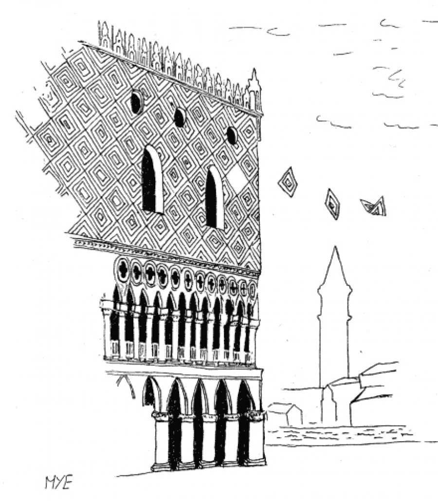 The image drawn by Matteo Emmer is the cover of the conference and depicts the Doge's Palace in Venice.