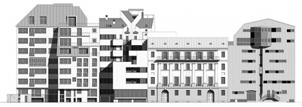 Composition of some drawings of the facades of the buildings that are the protagonists of the exhibition.